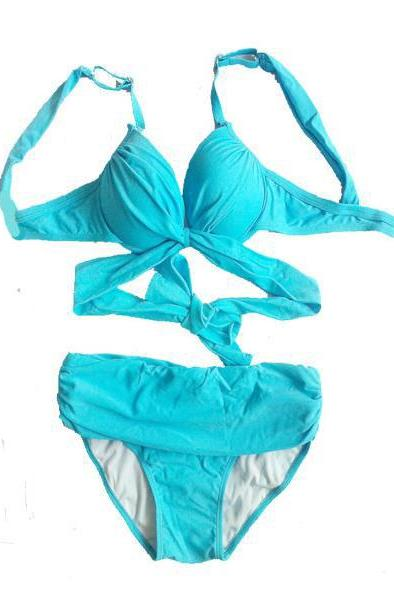 Summer Hot Women Sexy Swimsuit Swimwear Biniki Set - Sky Blue