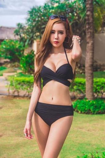 Summer Hot Women Sexy Swimsuit Swimwear Biniki Set - Black