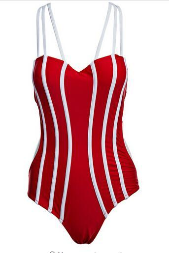 Red One-Piece Swimsuit with White Stripes and Tie Back