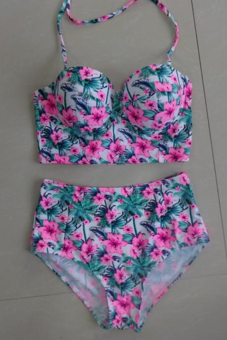 Fashion Women High Waist Flower Pattern Swimswear Bathing Suit Swimsuit
