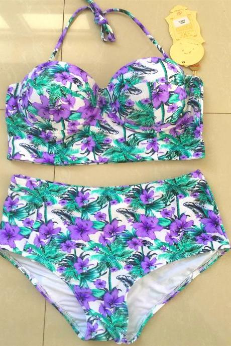 New Women High Waist Purple Flower Pattern Swimswear Swimsuit Bikini