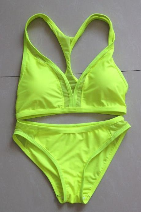 Sexy Cross Type Women Swimswear Swimsuit Bikini - Yellow