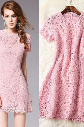 Good Quality Pink Lace Short Sleeve Dress