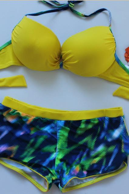 New Fashion Sexy Bikini Swimsuit For Lady - Yellow