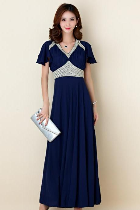 Elegant Hand Embroidered Beads Slim Evening Dress Chiffon Dress - Dark Blue