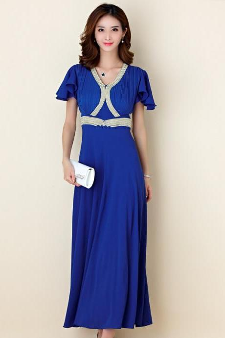 New Beaded Pleated Short Sleeved Elegant Evening Dress - Blue