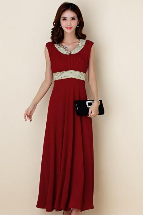Fahion Beaded Pleated Sleeveless Elegant Evening Dress - Wine Red