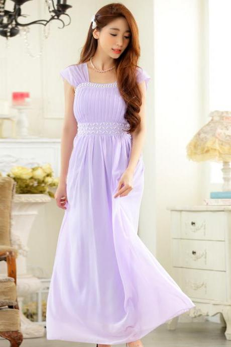 New Elegant Evening Sleeveless Dress - Purple