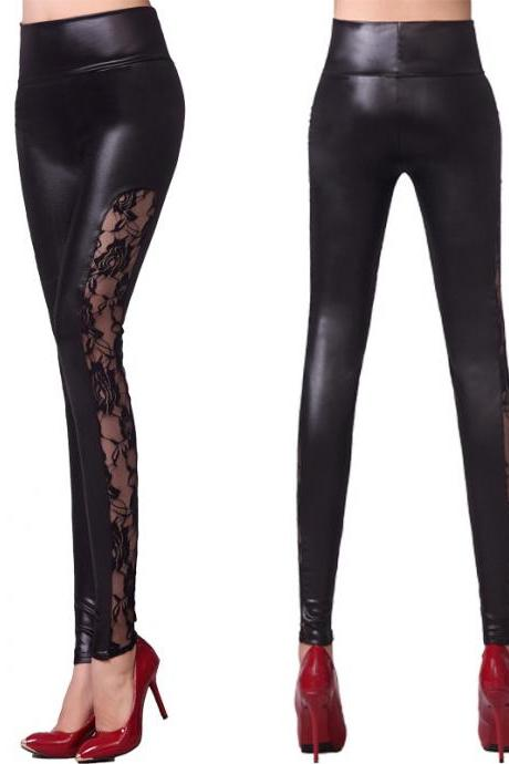 Women Slim Leather Patchwork Legging Lace Warm women pants