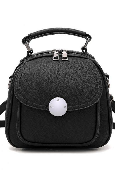 Cute Backpack Small Bag School Mini Girls Women Leather Shoulder Bag - Black
