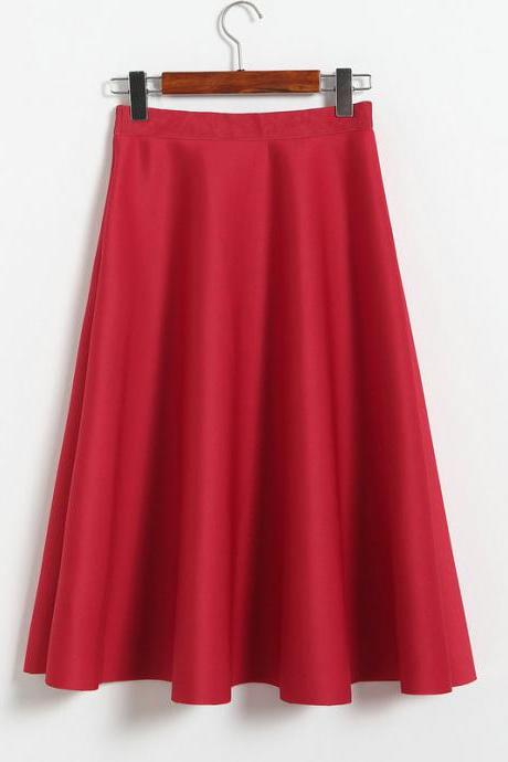 New Women Space Cotton High Waist Casual Skirt - Red