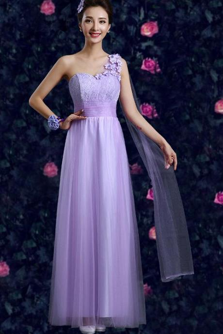 Fashion Purple One Shoulder Printing Evening Party Dress Bridesmaid Dresses