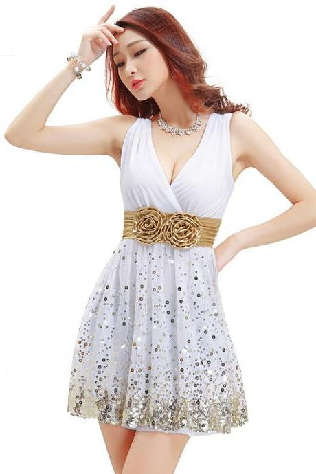 Deep V sequin sundress sexy party short dress