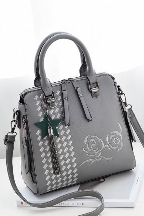New Flower Style Women Fashion Handbag Crossbody Shoulder Bag - Grey