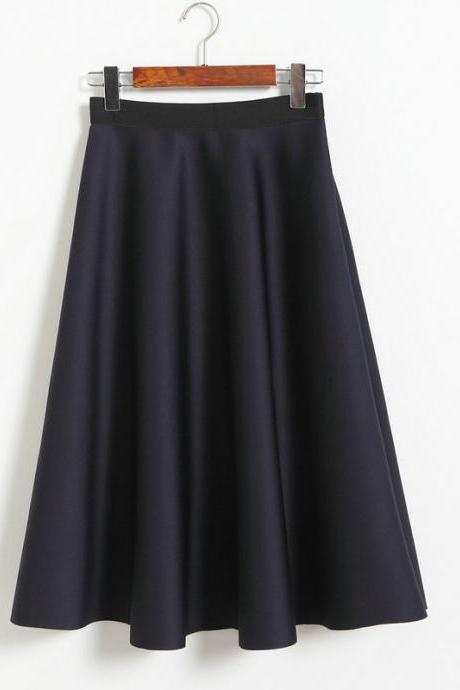 New Women Space Cotton High Waist Casual Skirt - Dark Blue