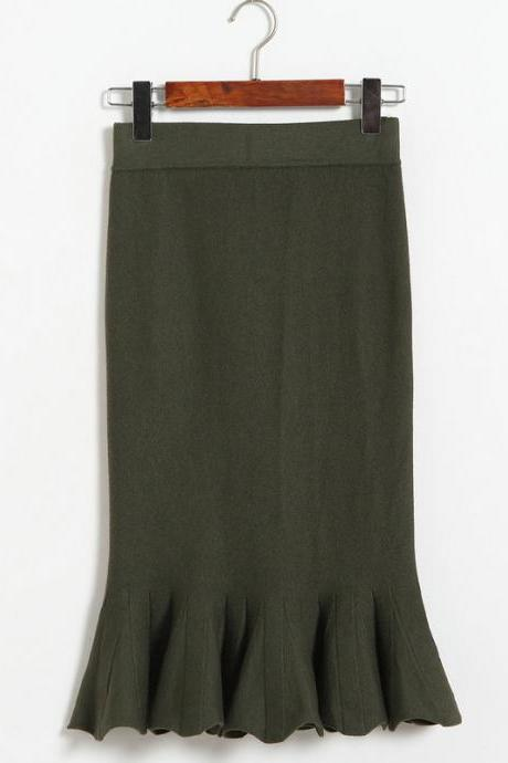Women Sexy Solid Color Fishtail knitting Slim Skirt - Amy Green