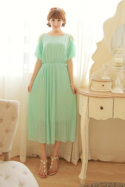 New Fashion Chiffon Beaded Pleated Long Dress