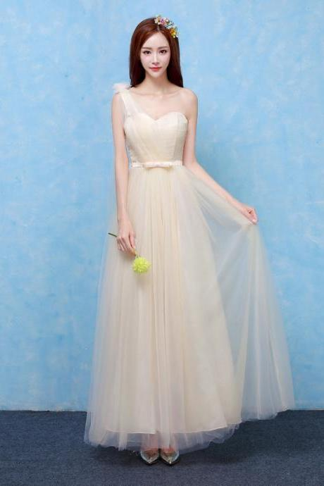 One Shoulder Formal Wedding Bridesmaid Dresses Evening Party Dress - Champagne