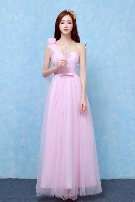 One Shoulder Formal Wedding Bridesmaid Dresses Evening Party Dress - Pink