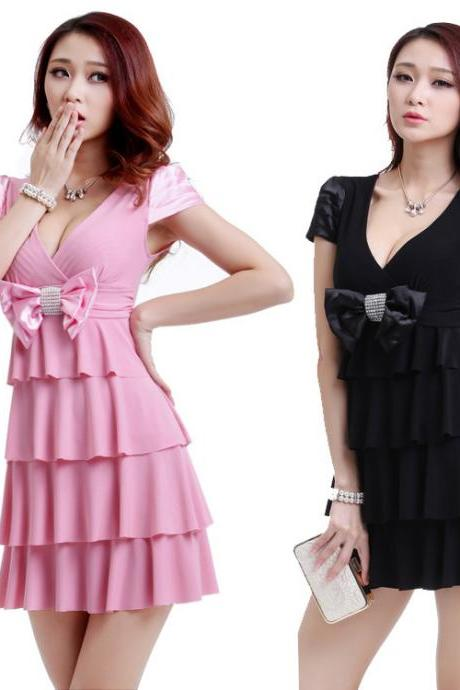 Women Sexy Bow Summer Party Dress Cake Princess Dress