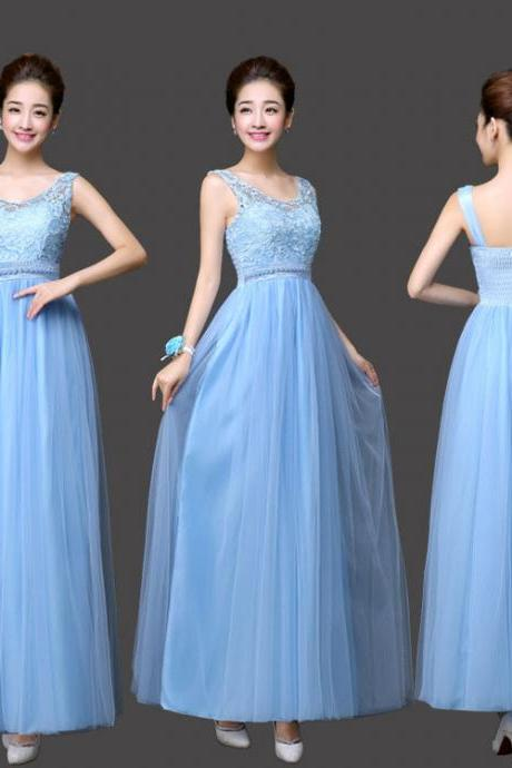 New Arrival Sweet Sky Blue Color Women Ball Gown Party Dresses Long Bridesmaids Dress