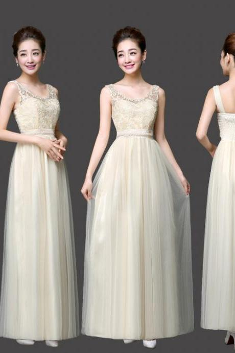 New Arrival Sweet Champagne Color Women Ball Gown Party Dresses Long Bridesmaids Dress