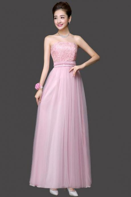 Long Bridesmaid Dress Sexy Gauze Flower Wedding Party Dress - Pink