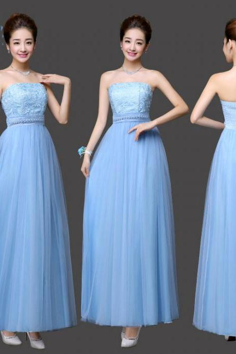Long Bridesmaid Dress Sexy Gauze Flower Wedding Party Dress - Sky Blue
