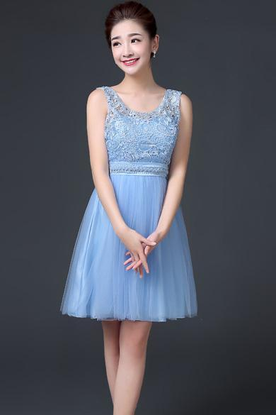 Sleeveless A-line Beaded Short Bridesmaid Dress Wedding Party Dress - Sky Blue