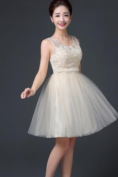 Sleeveless A-line Beaded Short Bridesmaid Dress Wedding Party Dress - Champagne