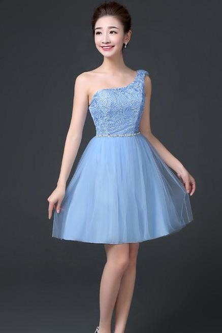 One Shoulder A-line Beaded Short Bridesmaid Dress Wedding Party Dress - Sky Blue