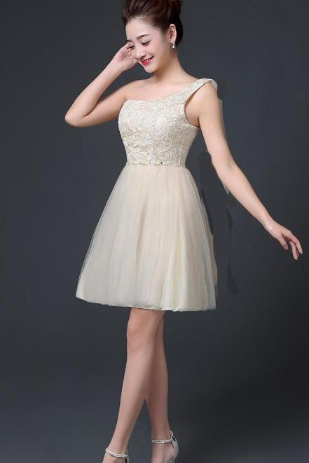 One Shoulder A-line Beaded Short Bridesmaid Dress Wedding Party Dress - Champagne