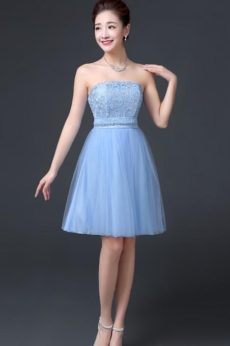 Elegant Off Shoulder A-line Beaded Short Bridesmaid Dress Wedding Party Dress - Sky Blue