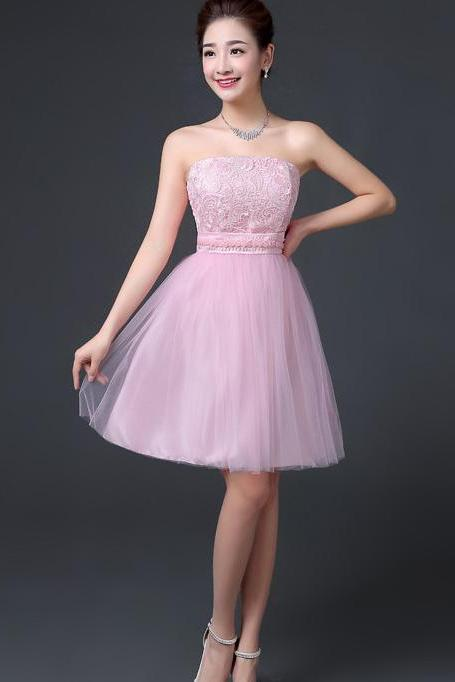 Elegant Off Shoulder A-line Beaded Short Bridesmaid Dress Wedding Party Dress - Pink