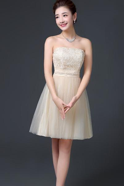 Elegant Off Shoulder A-line Beaded Short Bridesmaid Dress Wedding Party Dress - Champagne
