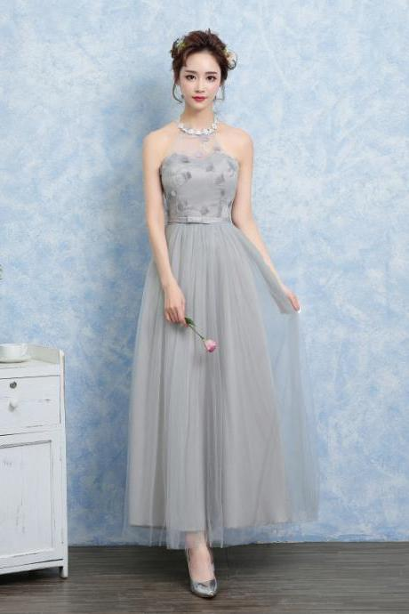 New Women Halter Gauze Evening Party Prom Bridesmaid Wedding Dress Graduation Gown - Grey