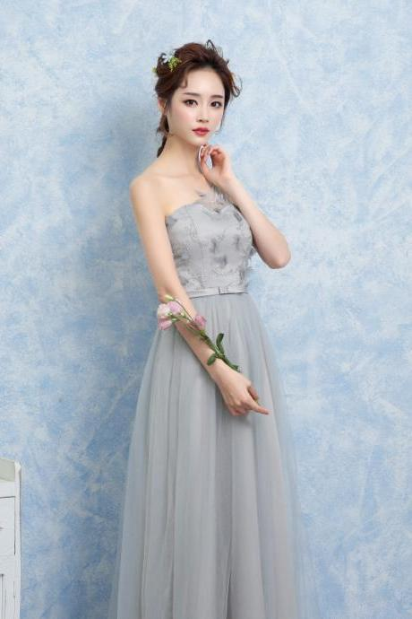 Women One Shoulder Gauze Evening Party Prom Bridesmaid Wedding Dress Graduation Gown - Grey