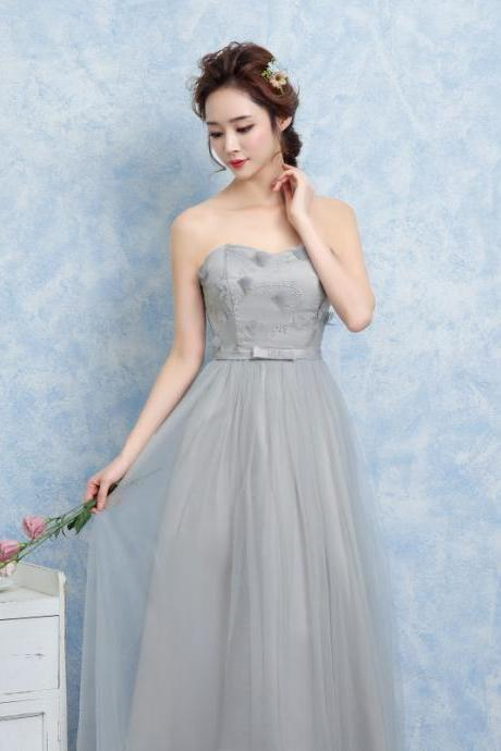 Women Off Shoulder Gauze Evening Party Prom Bridesmaid Wedding Dress Graduation Gown - Grey