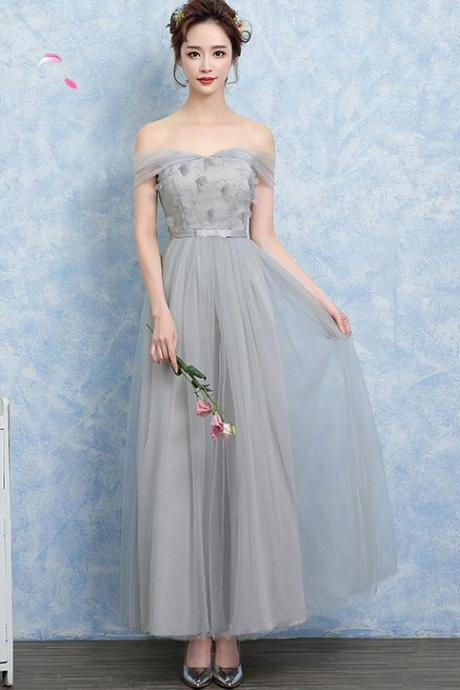 Women New Design Off Shoulder Gauze Bridesmaid Wedding Dress Graduation Gown - Grey