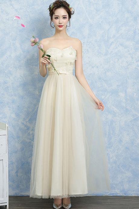 Women Off Shoulder Gauze Evening Party Prom Bridesmaid Wedding Dress Graduation Gown - Champagne