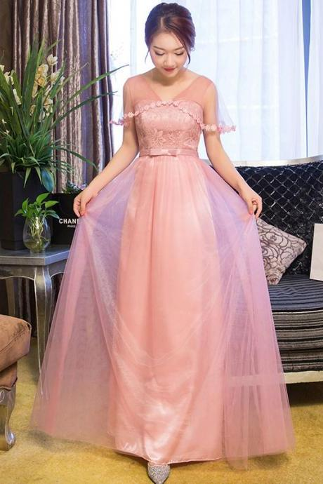 d2ab59eb9f921 New Arrival V Neck Pink Color Elegant Wedding Gown Long Bridesmaid Dresses