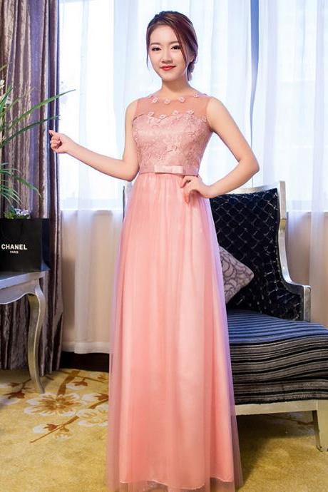 New Arrival Sleeveless Pink Color Elegant Wedding Gown Long Bridesmaid Dresses