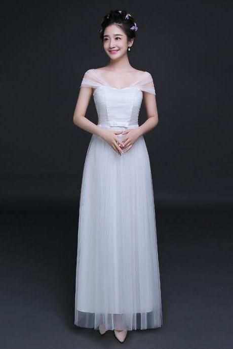 New Elegant Cheap Pleated A Line Long Bridesmaid Dress - White