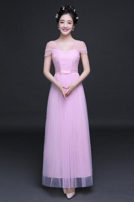 New Elegant Cheap Pleated A Line Long Bridesmaid Dress - Pink