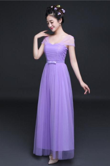 New Elegant Cheap Pleated A Line Long Bridesmaid Dress - Purple