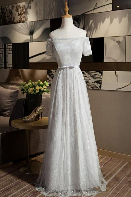 New Arrival A-line Off Shouler Short Sleeve Grey Color Elegant Long Evening Party Prom dress