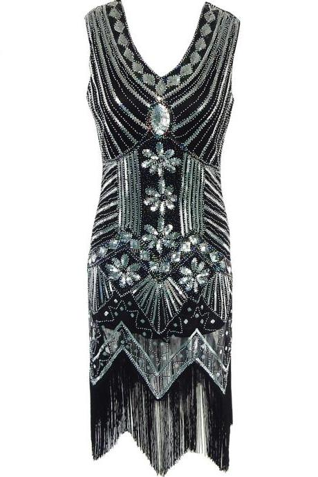 Sleeveless V Neck Sequin Short Tassels Evening Dress - Black