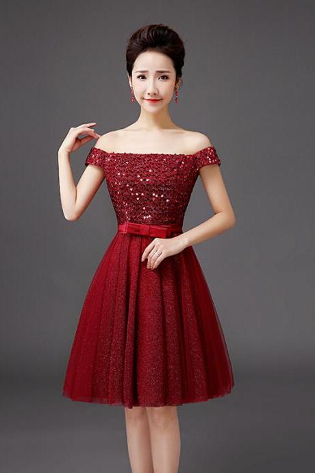 Fashion Boat Neck Off Shoulder Sequin Evening Party Wedding Dress - Wine Red