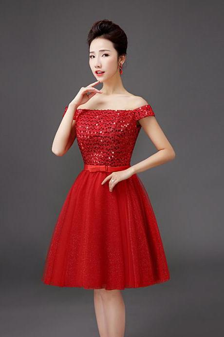 Fashion Boat Neck Off Shoulder Sequin Evening Party Wedding Dress - Red