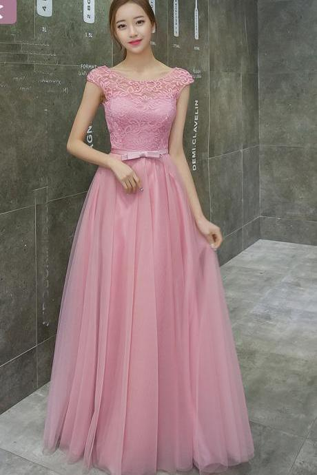 Sleeveless Pink Color Lace Long A Line Bridesmaid Dress Party Prom Gown